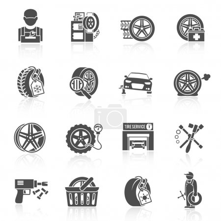 Illustration for Tire wheel service car auto mechanic repair work icons black set isolated vector illustration - Royalty Free Image