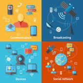 Communication flat icon set
