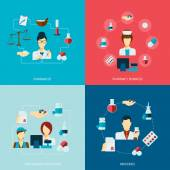 Pharmacist icon flat set