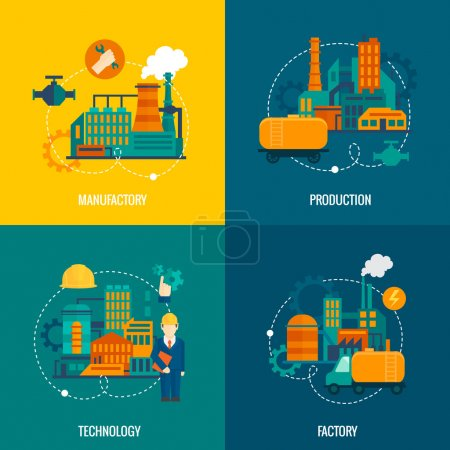 Illustration for Factory flat icons set with manufactory production technology isolated vector illustration - Royalty Free Image