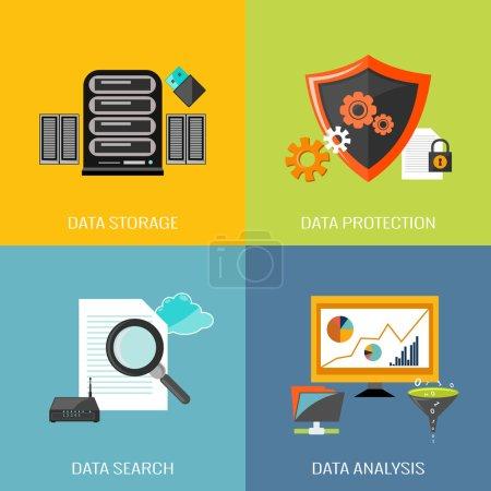 Illustration pour Icônes de base de données ensemble plat avec protection de stockage de données recherche analyse vectorielle isolée illustration - image libre de droit