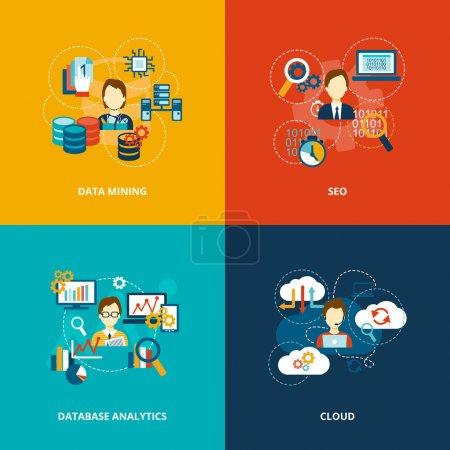 Illustration for Database analytics icons flat set with data mining seo cloud isolated vector illustration. - Royalty Free Image