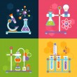 Chemistry decorative flat icons set with lab test ...