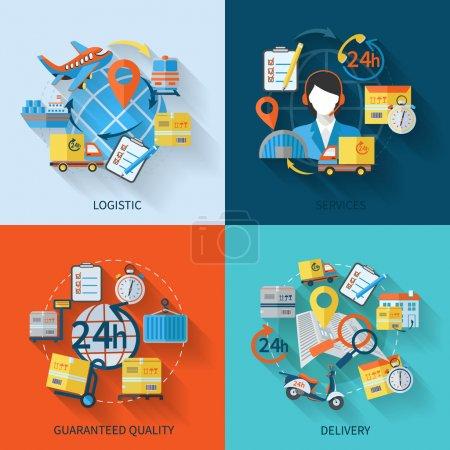 Illustration pour Logistiques icônes plates sertie de services garantis illustration vectorielle de qualité livraison isolé - image libre de droit