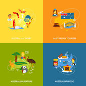 Australia travel icons flat set with australian sport tourism nature food isolated vector illustration