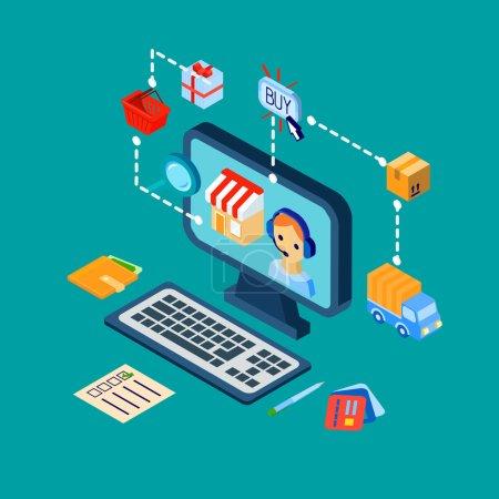 Shopping e-commerce icons set isometric