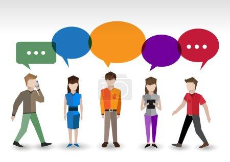 Illustration pour Adulte pixel hommes et femmes avatars avec bulles de parole gens chat concept illustration vectorielle - image libre de droit