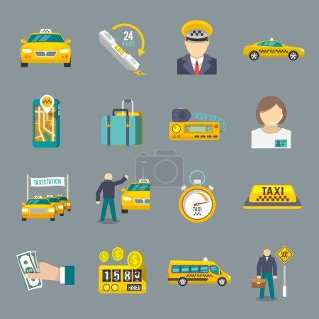 Illustration pour Taxi chauffeur service de transport icônes plat ensemble isolé vecteur illustration . - image libre de droit