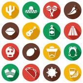 Mexico flat icons set