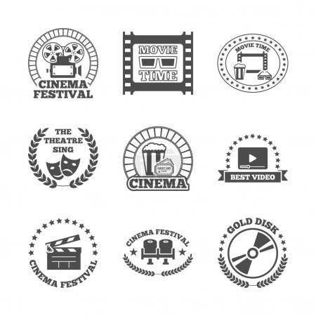 Illustration pour Cinéma cinéma théâtre disque d'or meilleur festival vidéo noir style rétro étiquettes icônes ensemble isolé vecteur illustration - image libre de droit