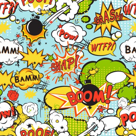 Illustration for Comic speech bubbles in pop art style with bomb cartoon and explosion text seamless pattern vector illustration - Royalty Free Image