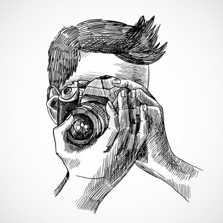 Illustration for Photographer with digital photo camera sketch portrait vector illustration - Royalty Free Image