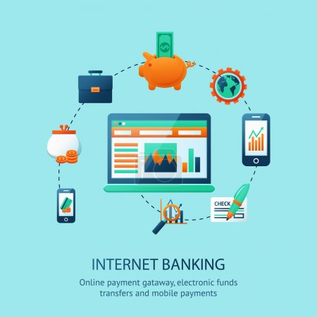 Illustration pour Affiche bancaire en ligne avec paiement mobile en ligne illustration vectorielle de symboles de télévirements - image libre de droit