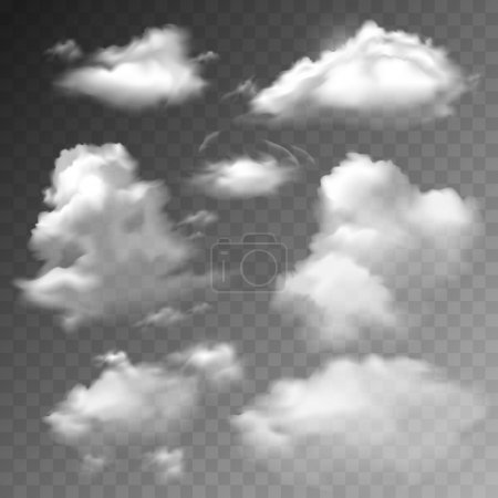 Illustration for Transparent clouds spring sunny weather cloudscape realistic set vector illustration - Royalty Free Image