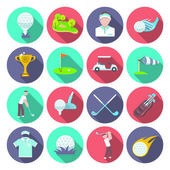 Golf club icons set set with sport inventory tournament player isolated vector illustration