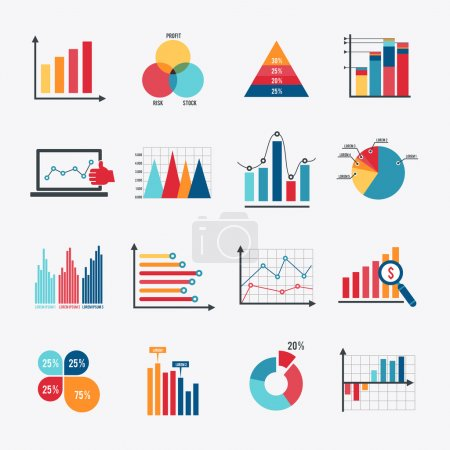 Business data market elements dot bar pie charts d...