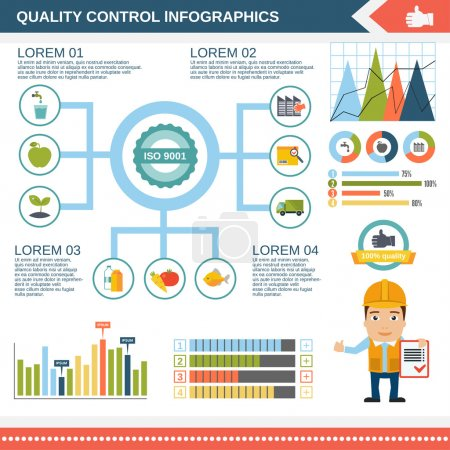 Illustration for Quality control product water construction infographic set with charts and diagram template vector illustration - Royalty Free Image