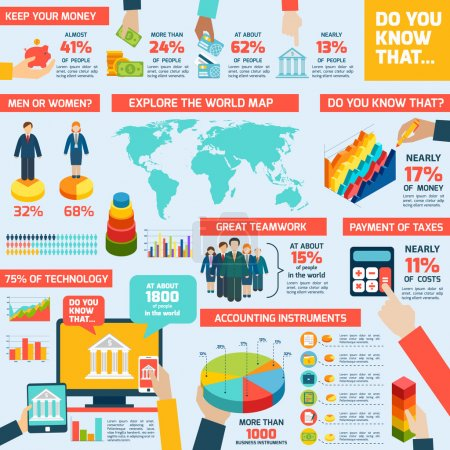 Illustration for Accounting infographics set with finance money charts and world map vector illustration - Royalty Free Image