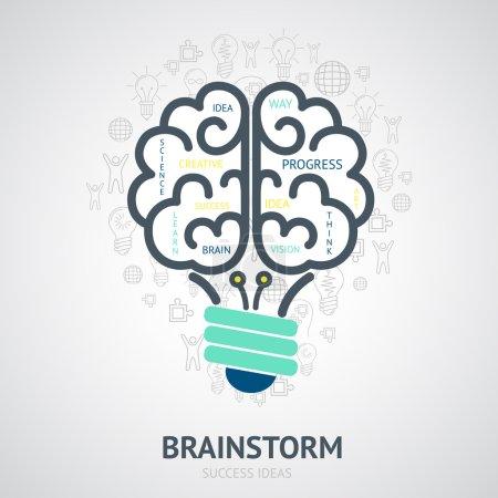Illustration for Idea brainstorm design concept with creative vision symbols in lightbulb brain shape vector illustration - Royalty Free Image