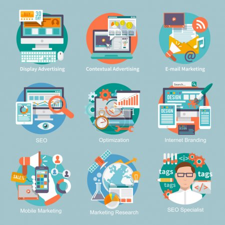 Illustration for Seo internet marketing flat icon set with display contextual advertising e-mail marketing concepts isolated vector illustration - Royalty Free Image