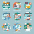Seo internet marketing flat icon set with display ...