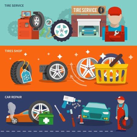 Illustration pour Bannière plate de service de pneu avec l'illustration vectorielle isolée de mécanicien de réparation de voiture d'atelier - image libre de droit