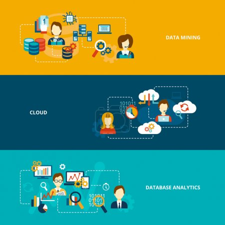 Illustration for Database analytics banner flat set with data mining cloud isolated vector illustration - Royalty Free Image