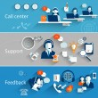 Customer service banners set with call center supp...