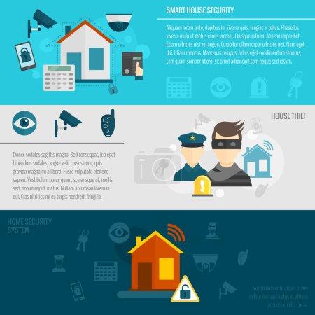 Illustration pour Bannière plate de sécurité à domicile avec système d'alarme intelligent de garde de voleur de maison illustration vectorielle isolée - image libre de droit