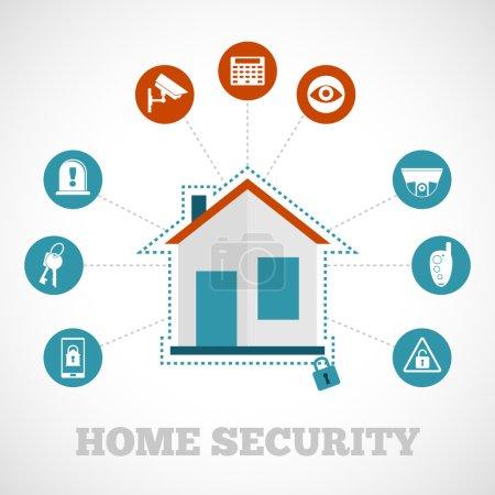 Illustration pour Concept de sécurité à domicile avec des icônes de protection d'immeuble plat set illustration vectorielle - image libre de droit