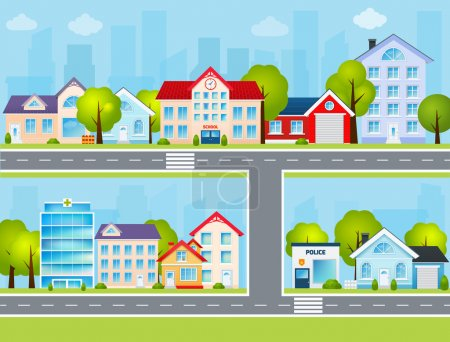 Illustration for Flat town buildings with private houses school police office vector illustration - Royalty Free Image