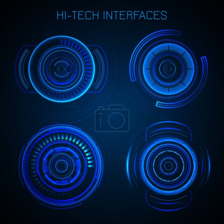 Illustration for Futuristic HUD interface hi-tech dashboard digital circular elements vector illustration - Royalty Free Image
