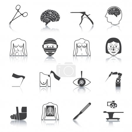 Illustration for Plastic aesthetic surgery medical operation healthcare hospital icons black set isolated vector illustration - Royalty Free Image