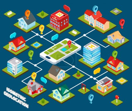 Illustration for Isometric geolocation concept with 3d buildings connected with mobile phone vector illustration - Royalty Free Image