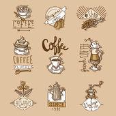 Coffee cuos vintage original espresso sketch labels set isolated vector illustration