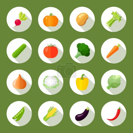 Vegetables Icons Flat Set