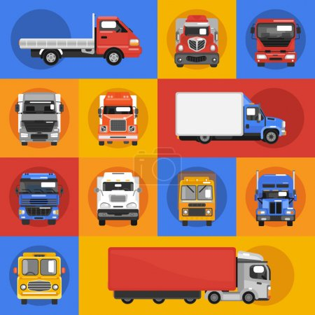Illustration for Truck heavy carrier transport delivery van decorative icons flat isolated vector illustration - Royalty Free Image