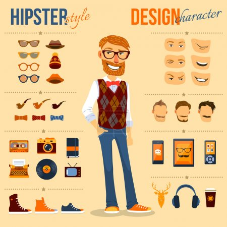 Illustration for Male hipster character pack with geek fashion trendy elements isolated vector illustration - Royalty Free Image