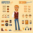 Male hipster character pack with geek fashion tren...