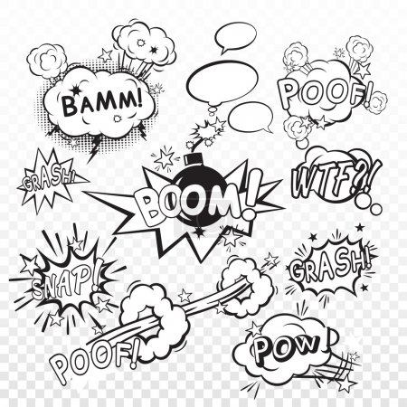 Comic black speech bubbles in pop art style with b...
