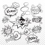 Comic black speech bubbles in pop art style with b...