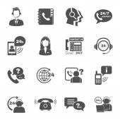 Podpora kontaktů call centrum ikony nastavit