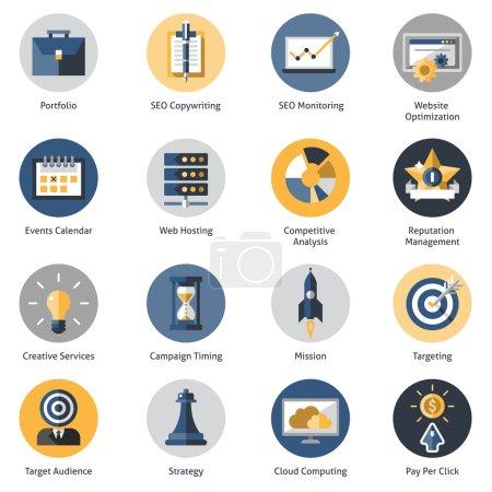 Illustration pour Seo icons set with portfolio copywrighting monitoring website optimization symbols isolated vector illustration - image libre de droit