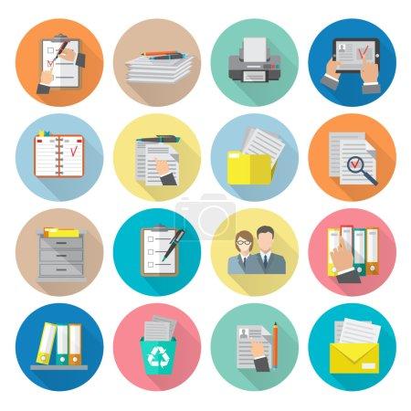 Illustration pour Document archive catalogue gestion documentation organisation icône plat set isolé vecteur illustration - image libre de droit