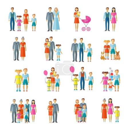 Illustration pour Icônes familiales ensemble plat avec couple marié enfants et animaux de compagnie avatars illustration vectorielle isolée - image libre de droit