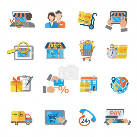 Illustration for Shopping e-commerce online payment customer shipping icon set isolated vector illustration - Royalty Free Image