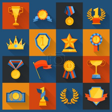 Award icons set flat