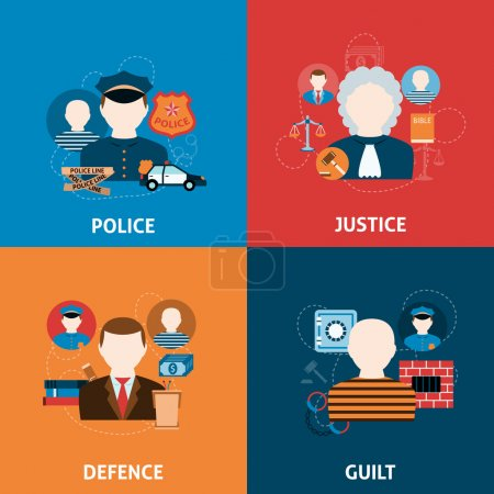 Illustration pour Peine de corruption crime et droit civil juridique officier de justice de la défense quatre icônes plat composition illustration vectorielle abstraite - image libre de droit