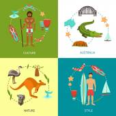 Australia design concept set with culture nature style flat icons set isolated vector illustration