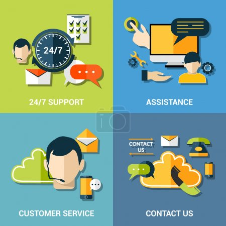 Ilustración de Contact us global concept flat icons of support assistance 24h customer service composition abstract isolated vector illustration - Imagen libre de derechos